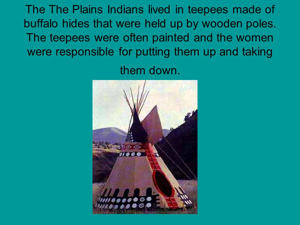 The The Plains Indians lived in teepees made of buffalo hides that were held up by wooden poles.