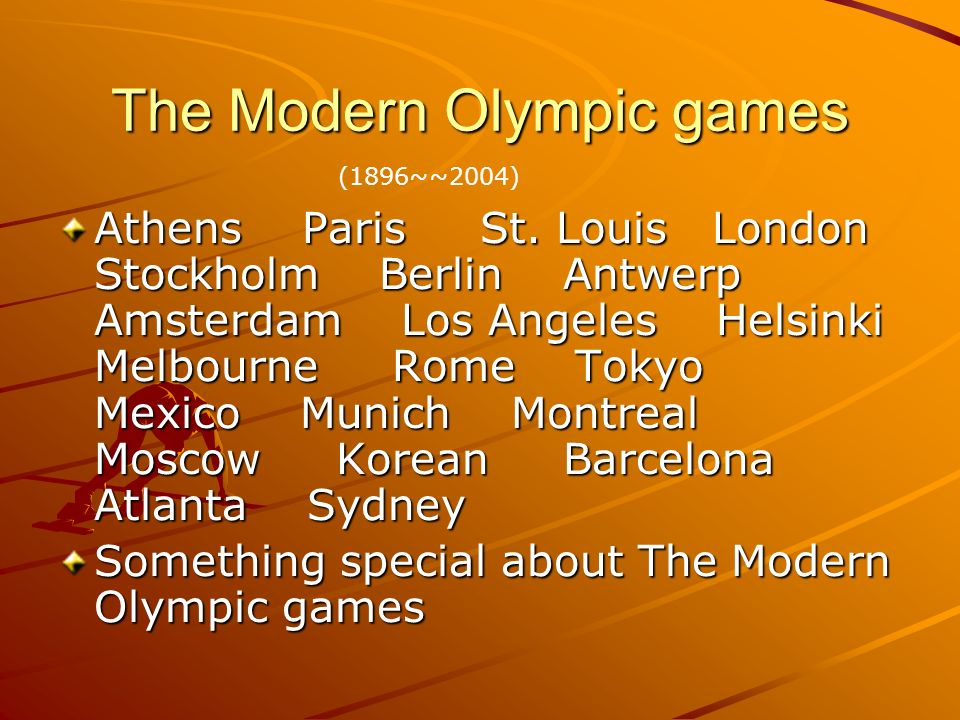 the beginning of the modern olympic games Following a proposal from the greek representative, demetrios vikelas, athens was decided to host the first modern olympic games  the beginning of the event.