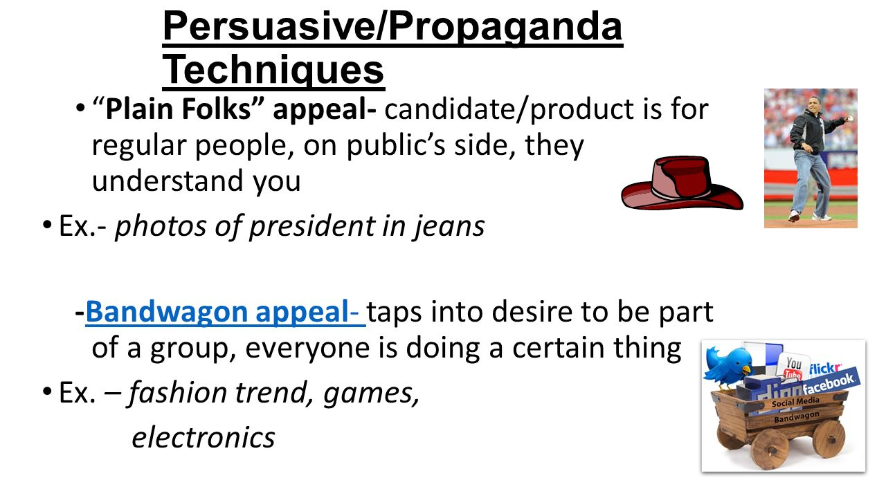 propaganda persuasive techniques Propaganda and persuasive techniques what is it what does it do what is propaganda z the process of spreading ideas, information, or rumor to help or.