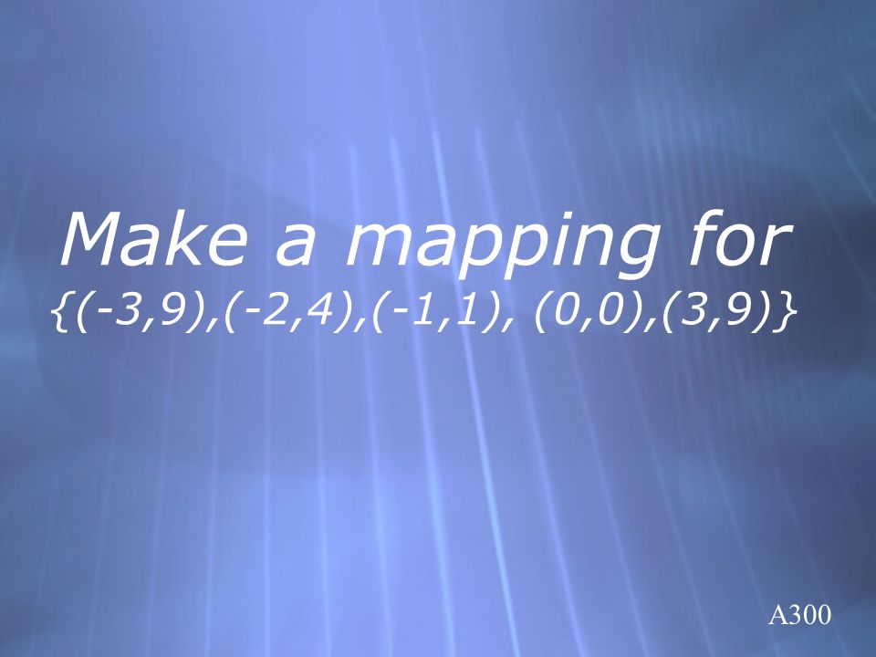 Make a mapping for {(-3,9),(-2,4),(-1,1), (0,0),(3,9)}
