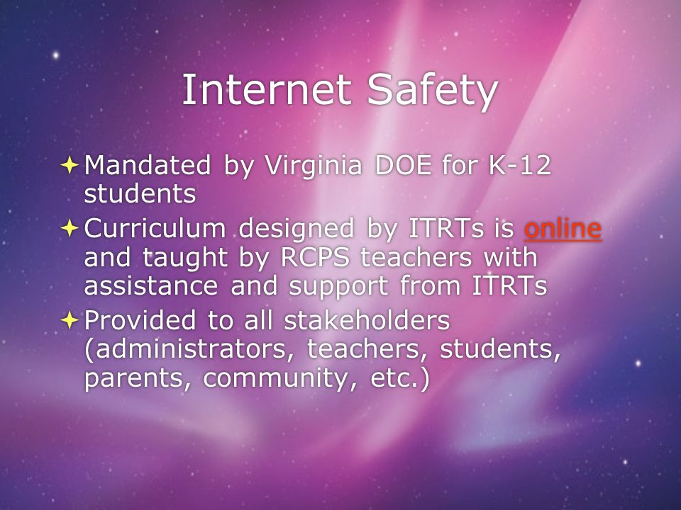 Internet Safety Mandated by Virginia DOE for K-12 students
