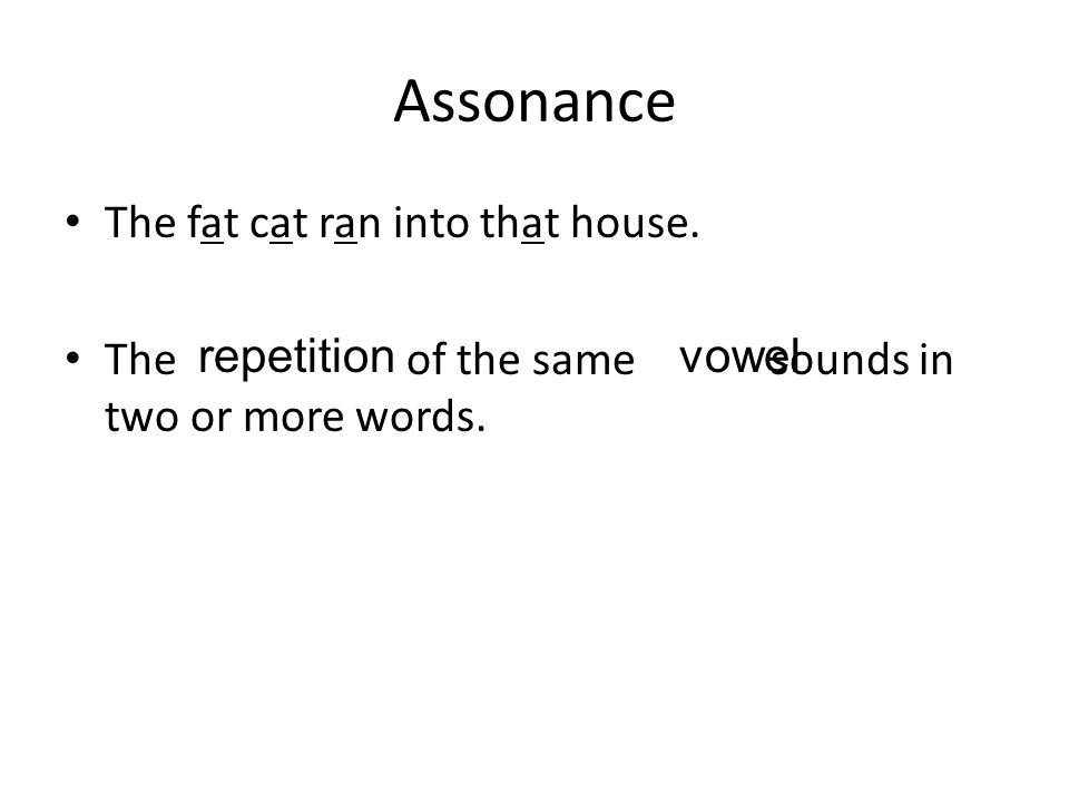 Assonance The fat cat ran into that house.