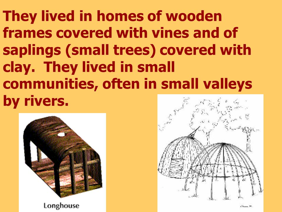 They lived in homes of wooden frames covered with vines and of saplings (small trees) covered with clay.