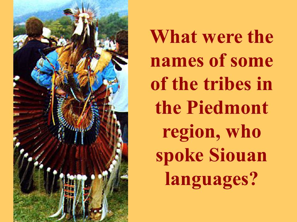 What were the names of some of the tribes in the Piedmont region, who spoke Siouan languages