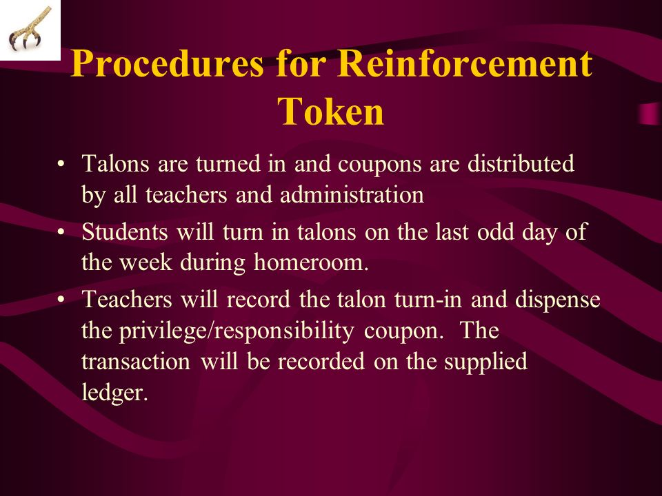 Procedures for Reinforcement Token