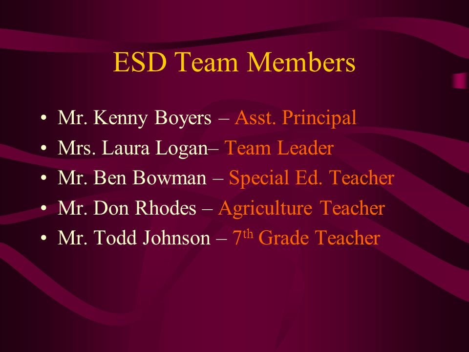 ESD Team Members Mr. Kenny Boyers – Asst. Principal