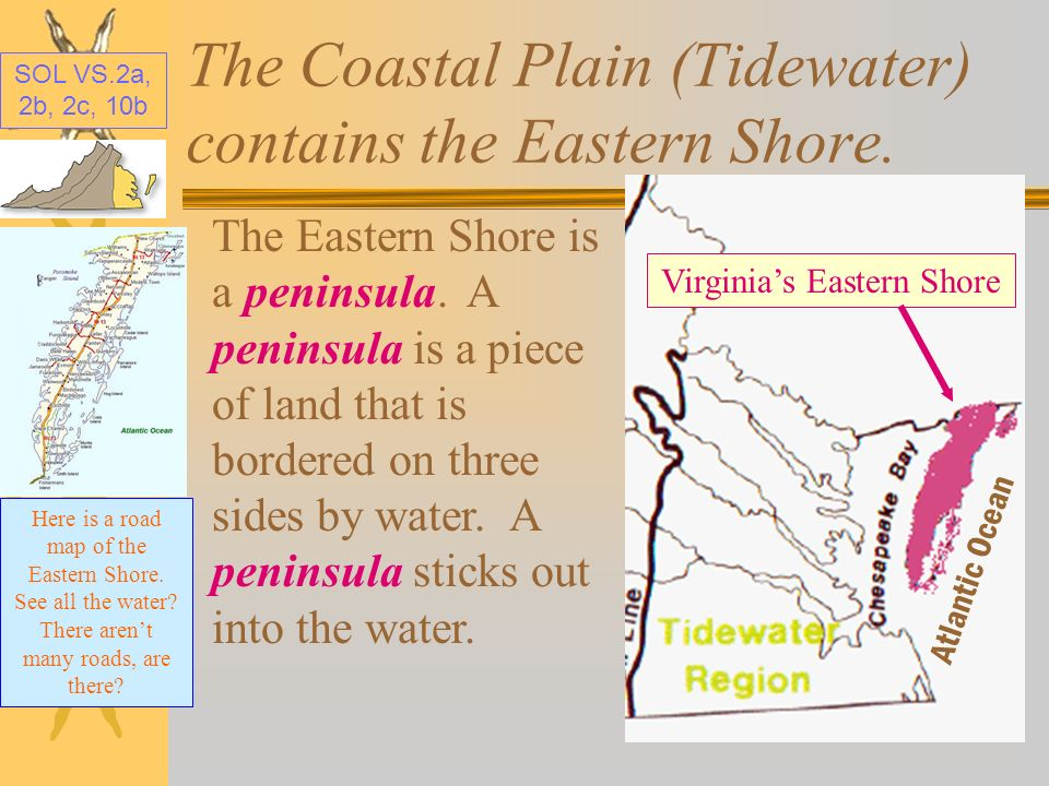 The Coastal Plain (Tidewater) contains the Eastern Shore.