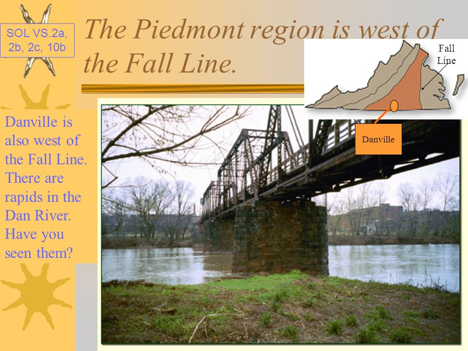 The Piedmont region is west of the Fall Line.