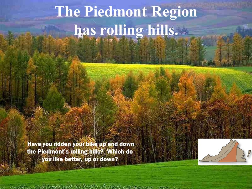 The Piedmont Region has rolling hills.