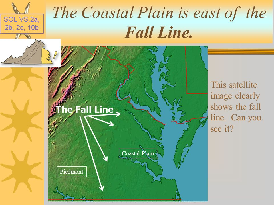 The Coastal Plain is east of the Fall Line.