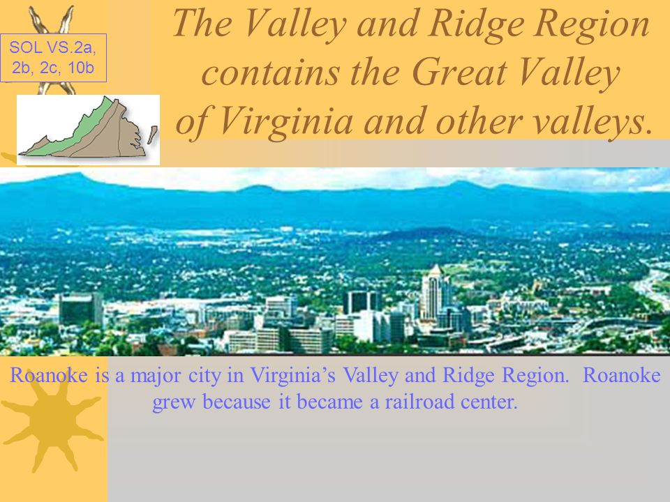 The Valley and Ridge Region contains the Great Valley of Virginia and other valleys.