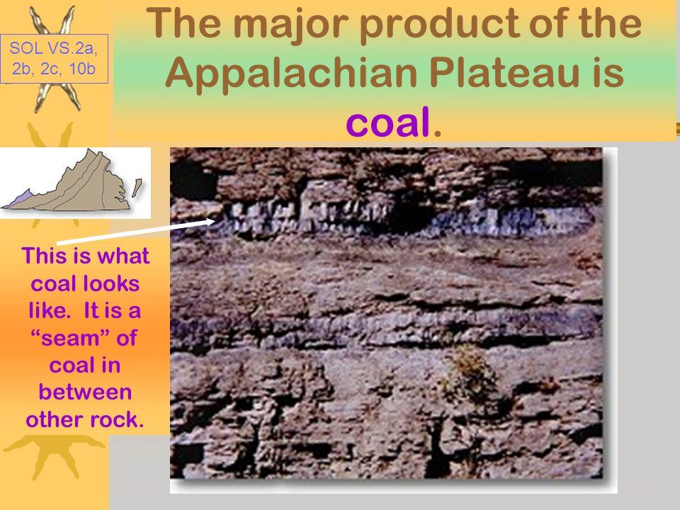The major product of the Appalachian Plateau is coal.