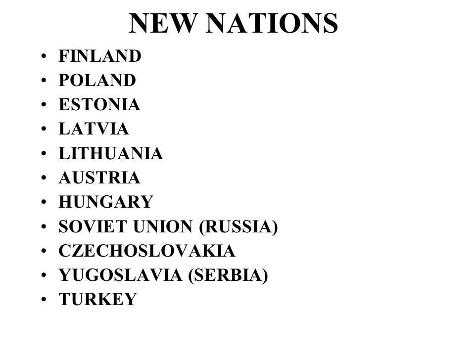 NEW NATIONS FINLAND POLAND ESTONIA LATVIA LITHUANIA AUSTRIA HUNGARY