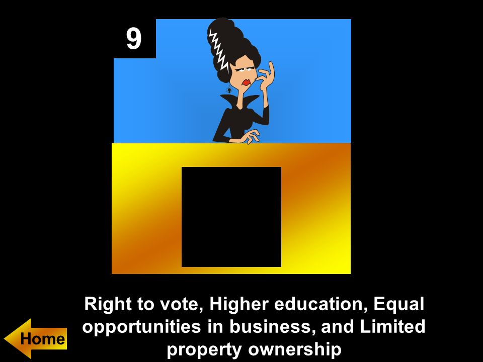 9 Right to vote, Higher education, Equal opportunities in business, and Limited property ownership.