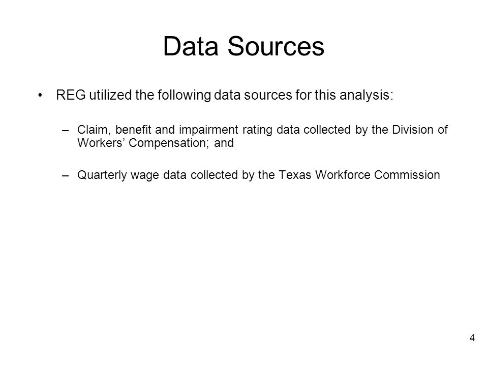 Data Sources REG utilized the following data sources for this analysis: