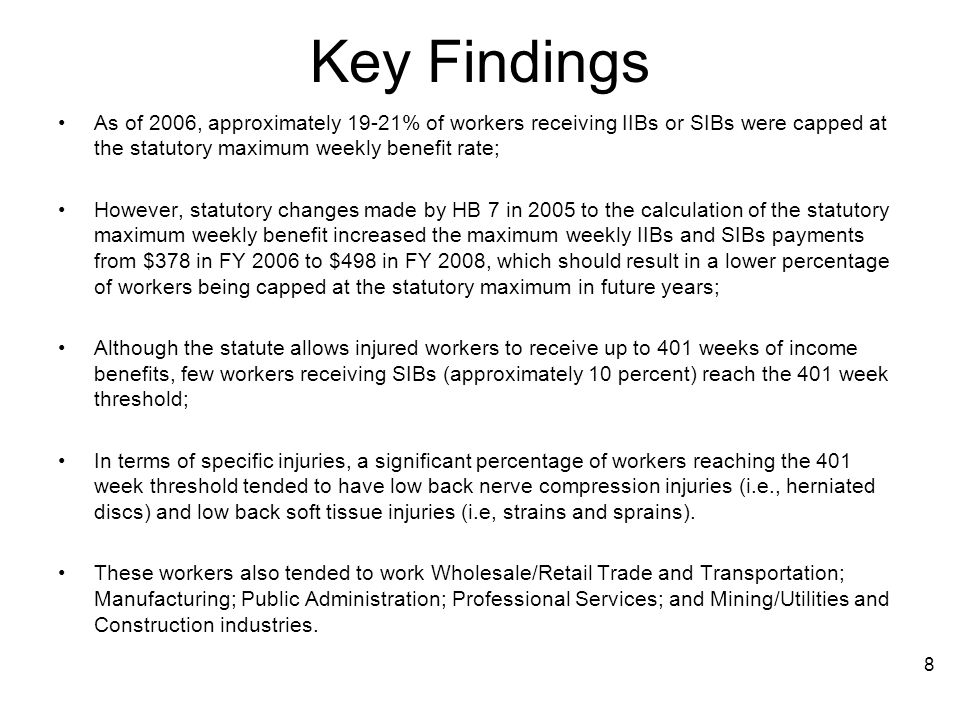 Key Findings As of 2006, approximately 19-21% of workers receiving IIBs or SIBs were capped at the statutory maximum weekly benefit rate;