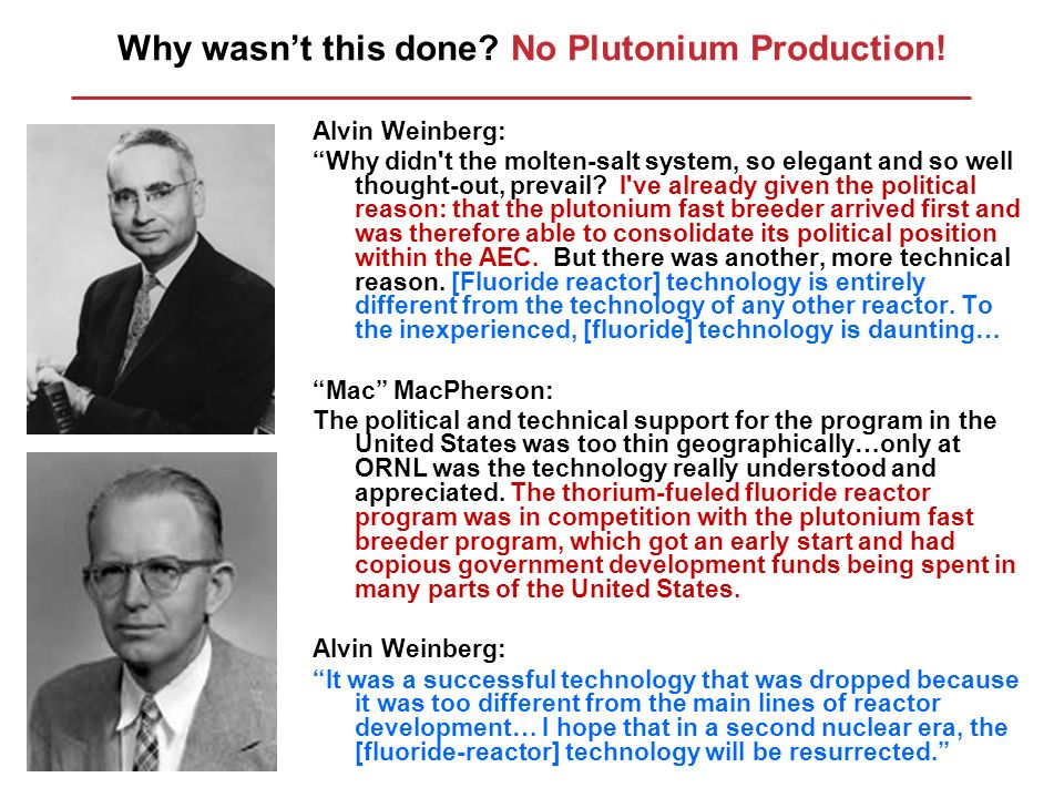 Why wasn't this done No Plutonium Production!