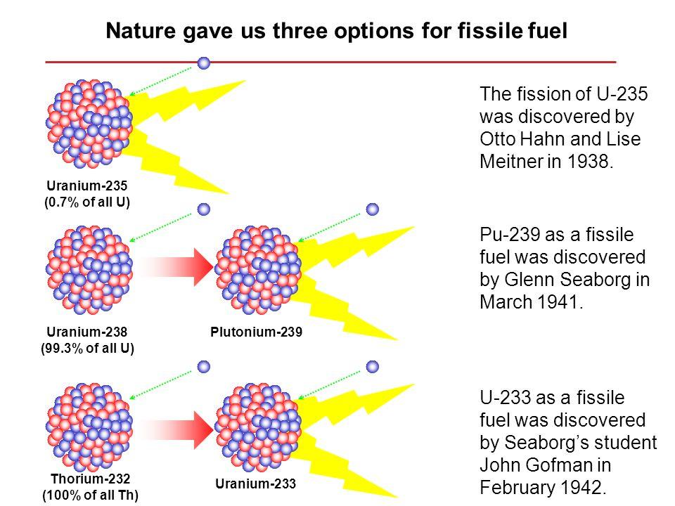 Nature gave us three options for fissile fuel