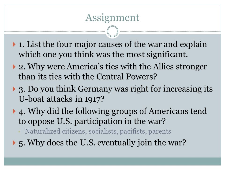 an analysis of the four main reasons for world war i