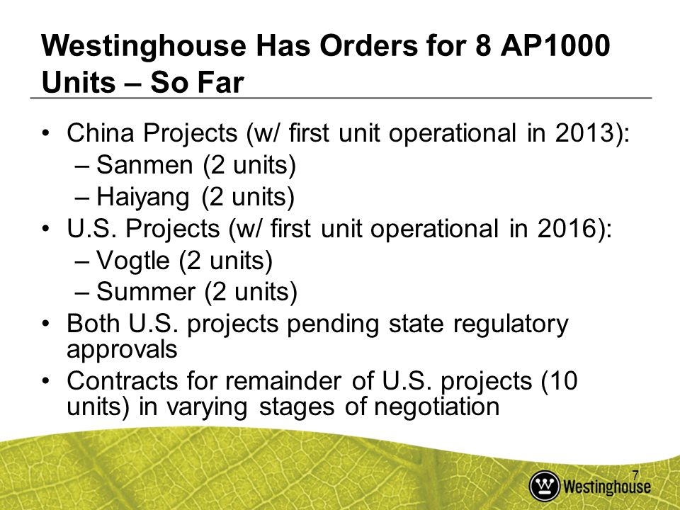 Westinghouse Has Orders for 8 AP1000 Units – So Far