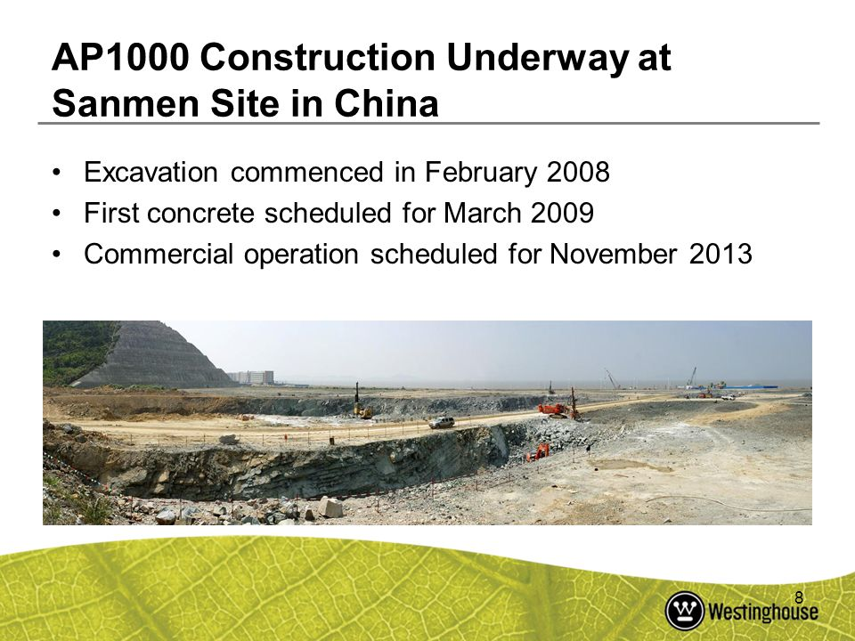 AP1000 Construction Underway at Sanmen Site in China