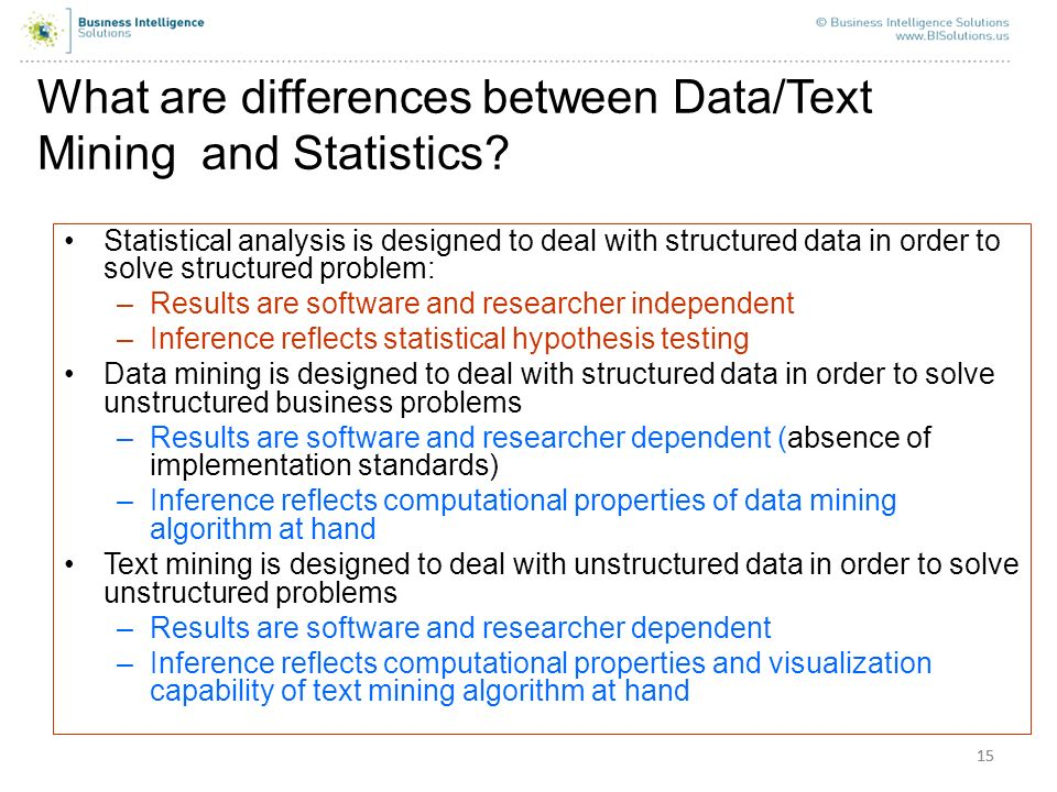 What are differences between Data/Text Mining and Statistics