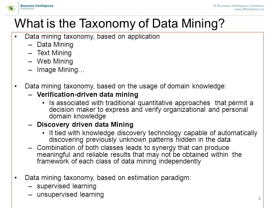 What is the Taxonomy of Data Mining