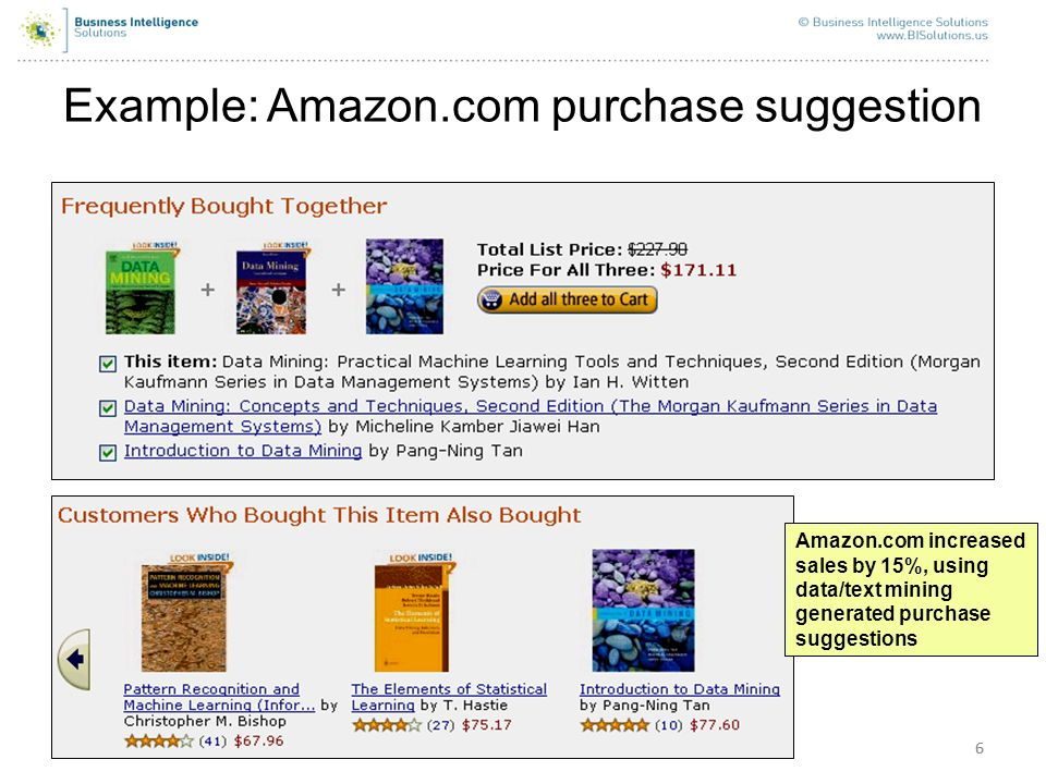 Example: Amazon.com purchase suggestion