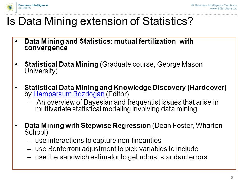 Is Data Mining extension of Statistics