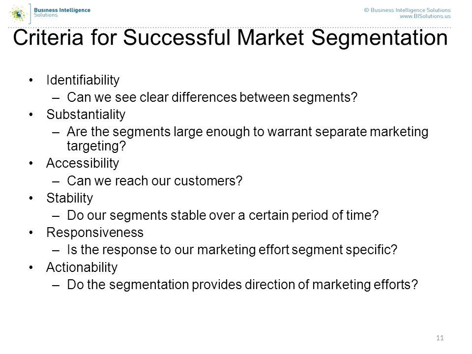 Criteria for Successful Market Segmentation