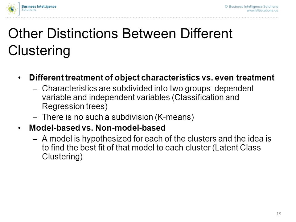 Other Distinctions Between Different Clustering