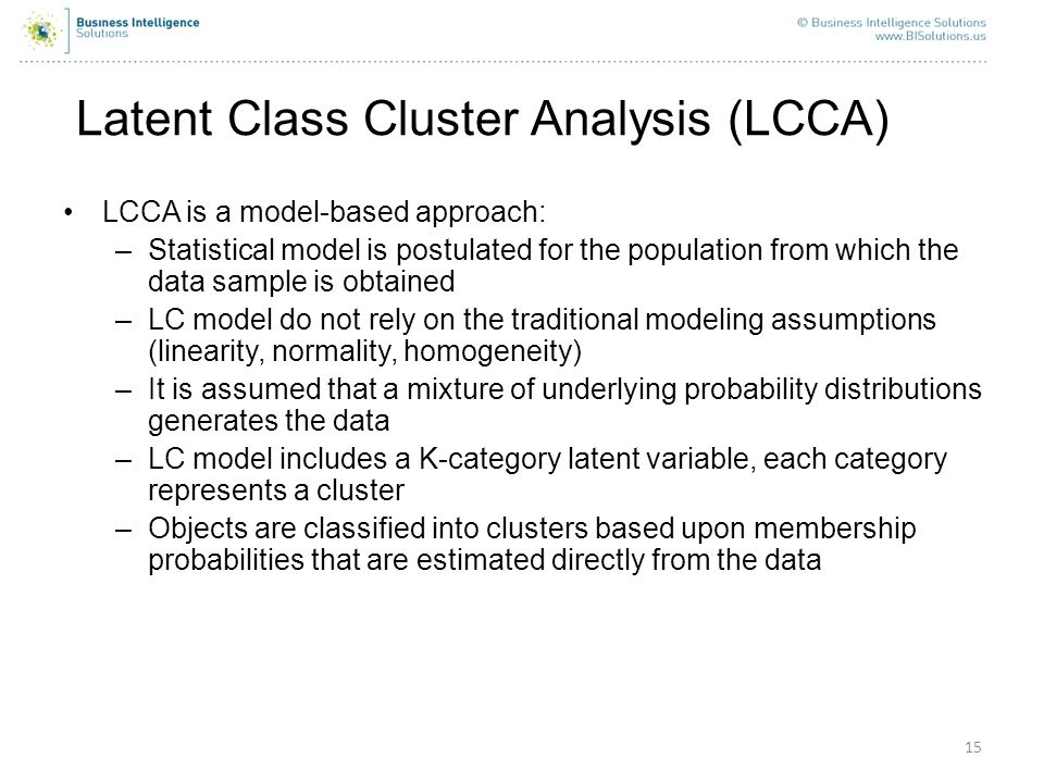 Latent Class Cluster Analysis (LCCA)