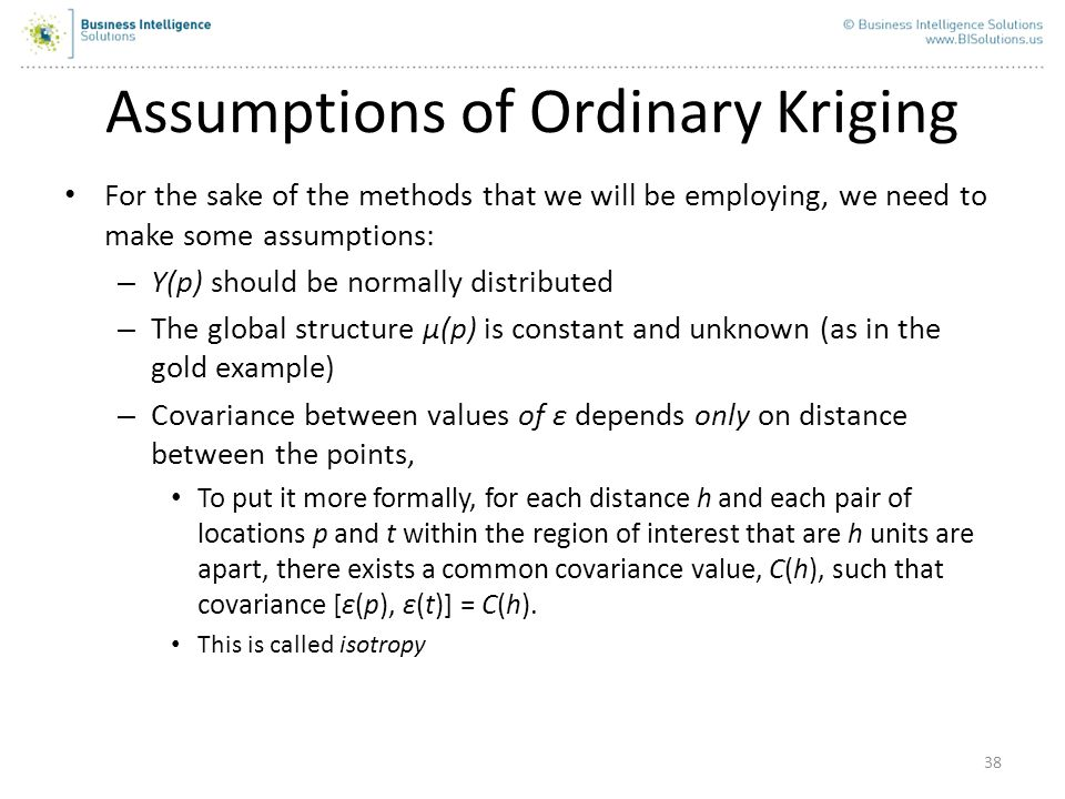 Assumptions of Ordinary Kriging