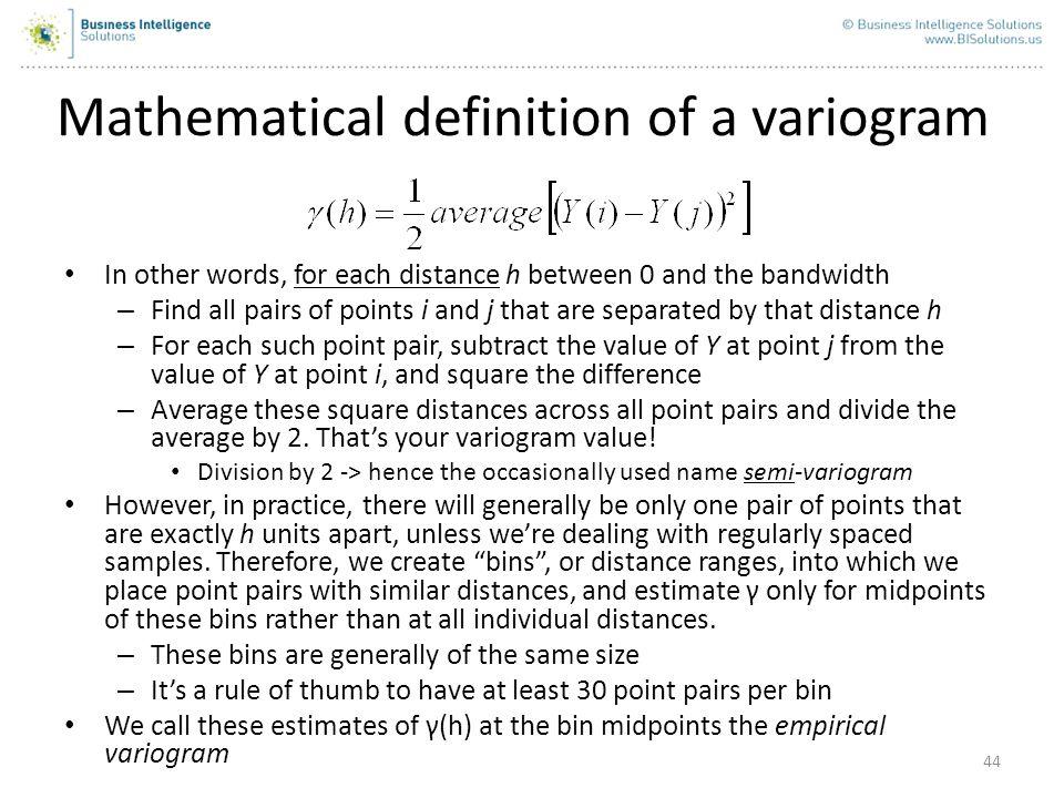 Mathematical definition of a variogram
