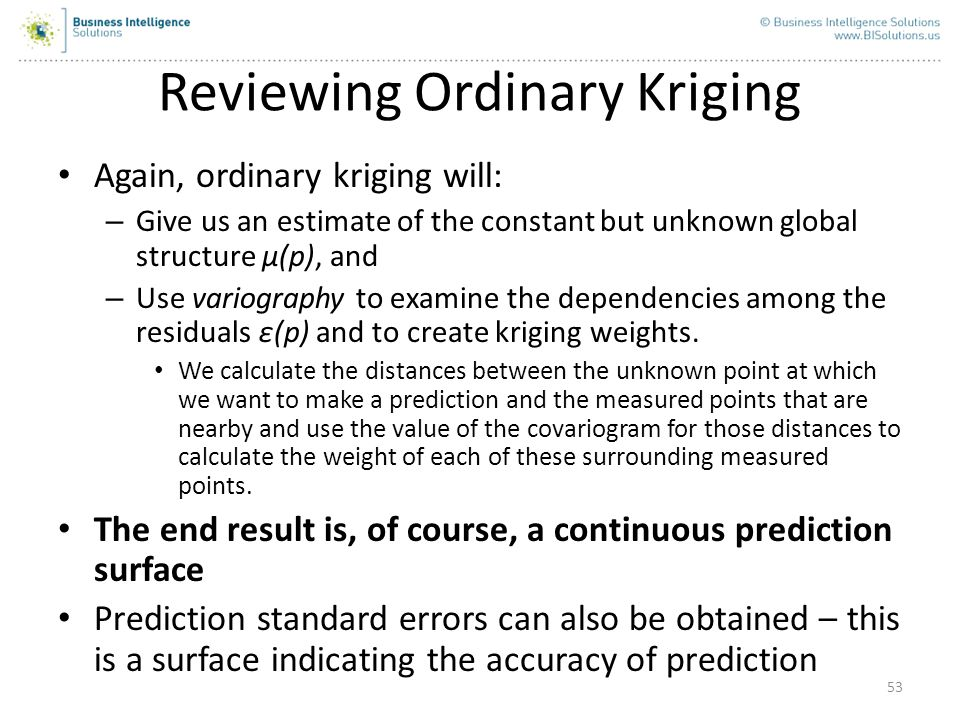 Reviewing Ordinary Kriging