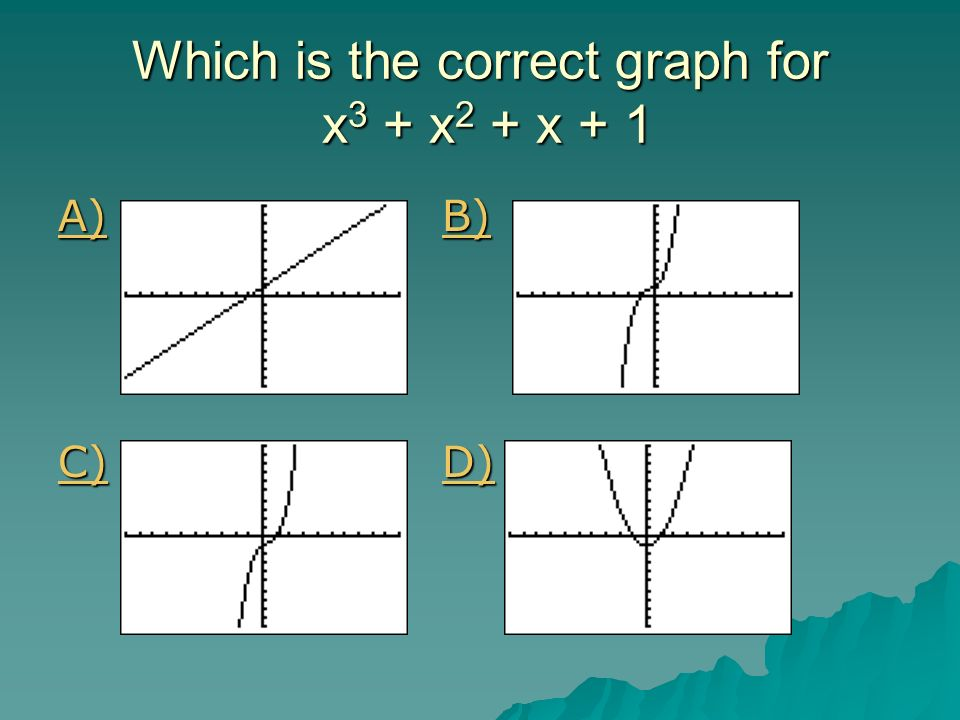 Which is the correct graph for x3 + x2 + x + 1
