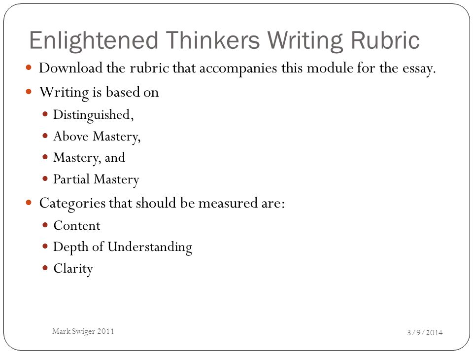 Enlightened Thinkers Writing Rubric