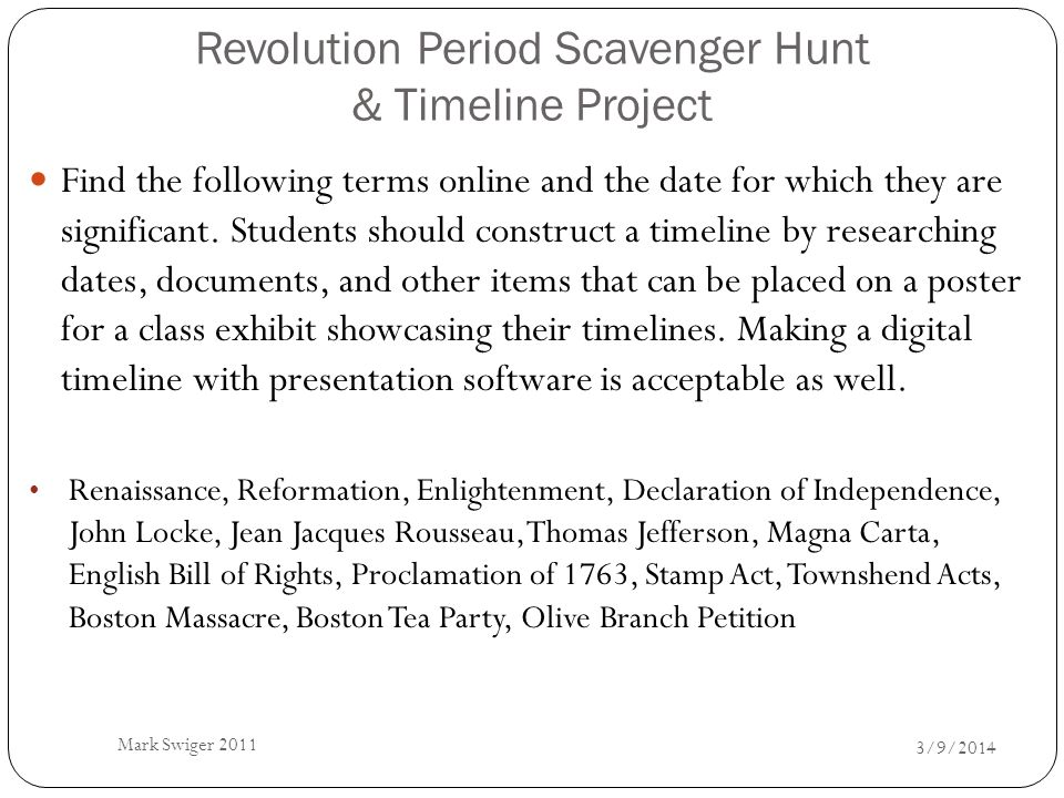 Revolution Period Scavenger Hunt & Timeline Project