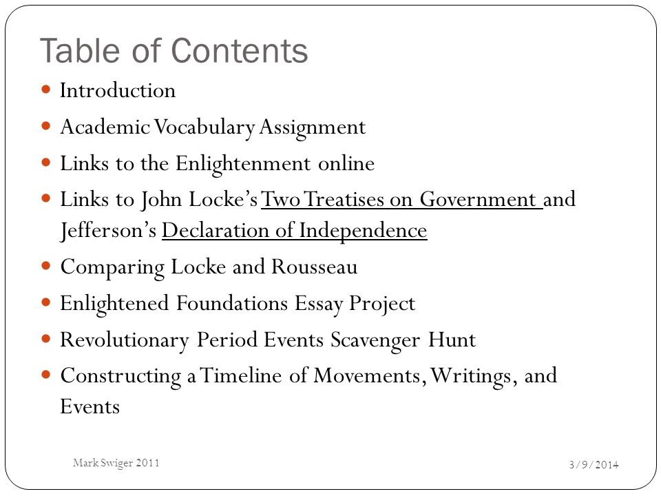 Table of Contents Introduction Academic Vocabulary Assignment