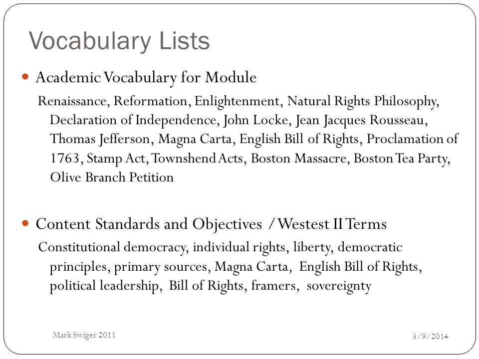 Vocabulary Lists Academic Vocabulary for Module