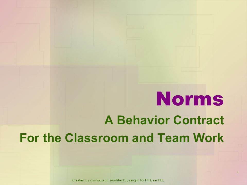 A Behavior Contract For the Classroom and Team Work