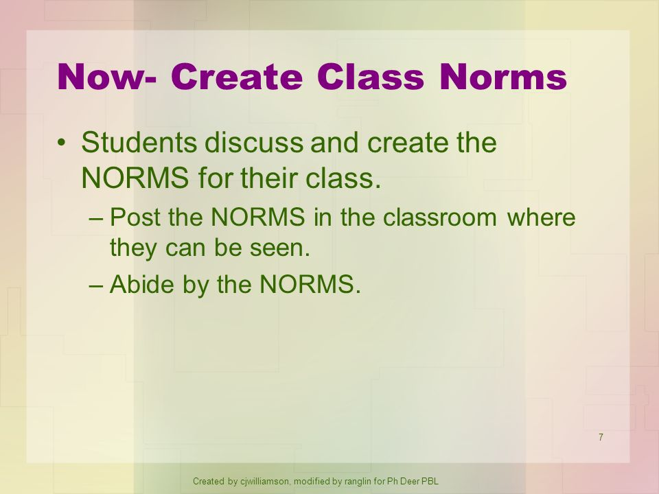 Now- Create Class Norms