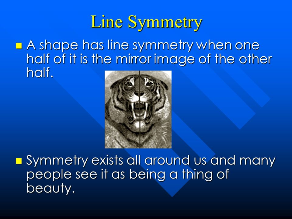 Line Symmetry A shape has line symmetry when one half of it is the mirror image of the other half.