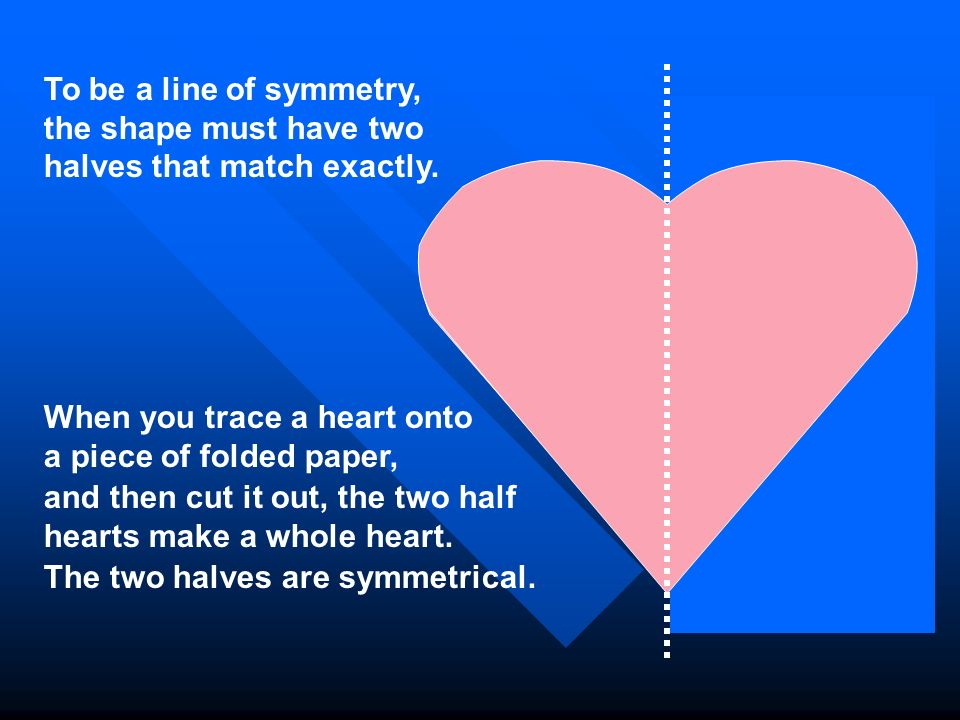 To be a line of symmetry, the shape must have two halves that match exactly.