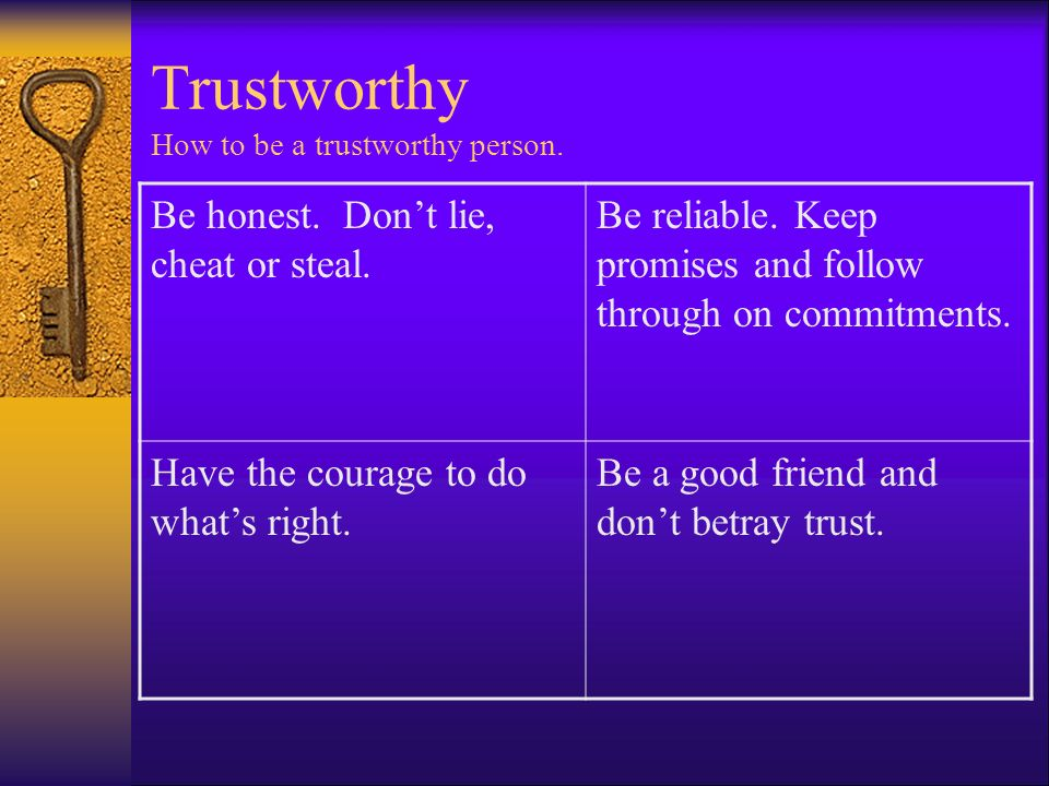 Trustworthy How to be a trustworthy person.
