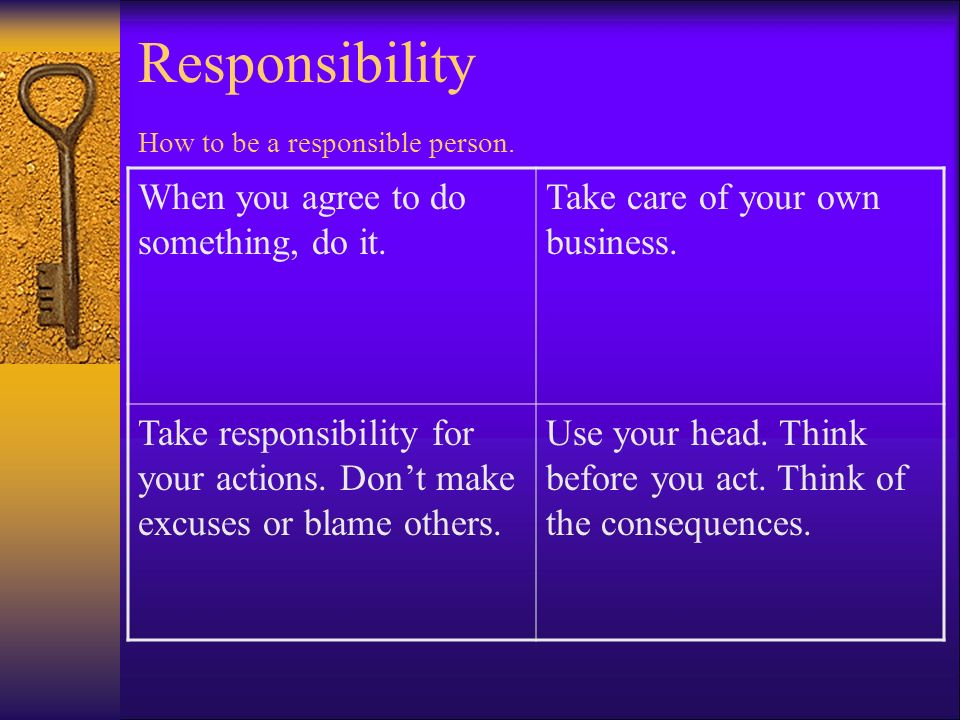 Responsibility How to be a responsible person.