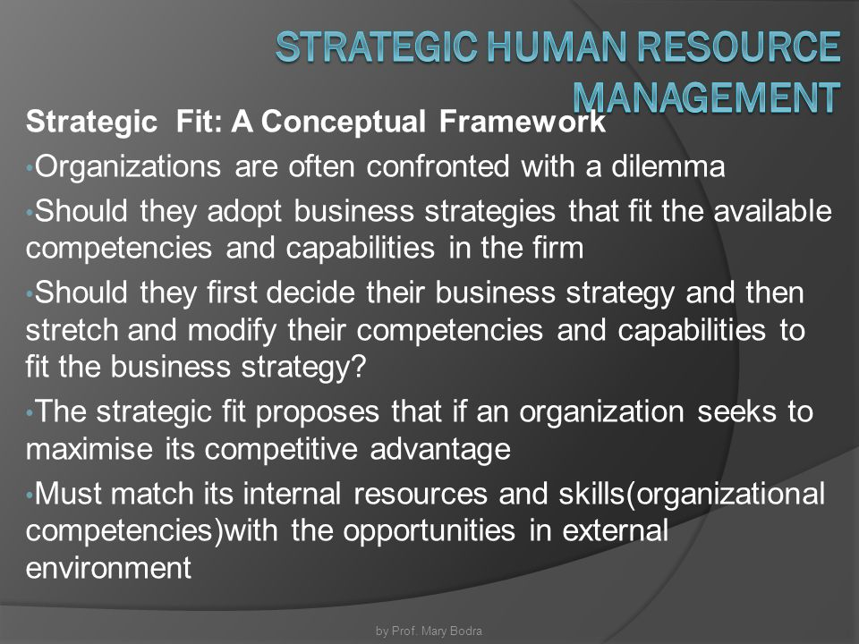 strategic fit in hrm Flesh out your strategic human resources plan with these four essential insights   including whether it fits the organization's needs, and then moves on to  to  understand the strategic human resource management planning.