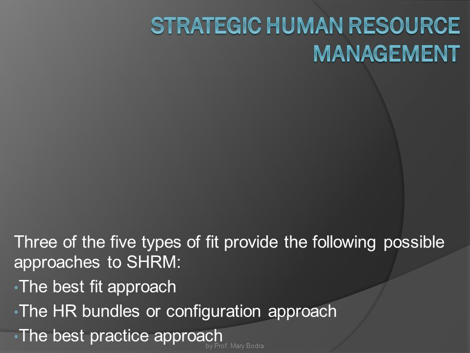 approaches to strategic human resource management Management in today's rapidly changing workplace support a larger, more  strategic role for hr » start with the business strategy align your hr goals.