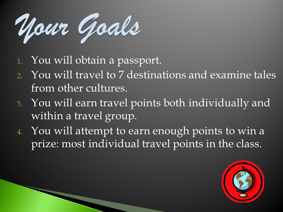 Your Goals You will obtain a passport.