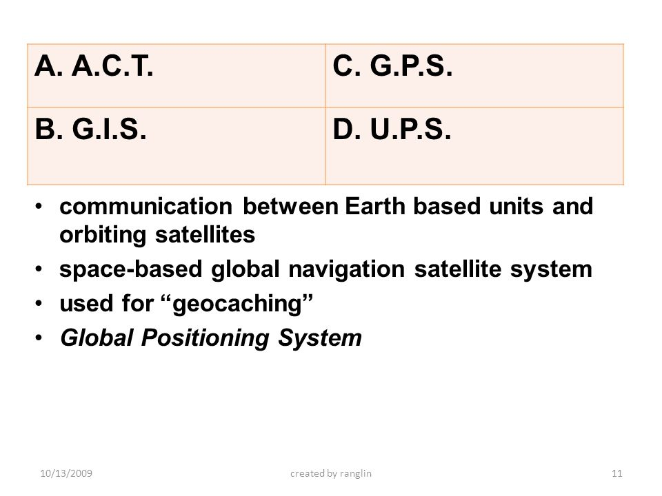 A.C.T. G.P.S. G.I.S. U.P.S. communication between Earth based units and orbiting satellites. space-based global navigation satellite system.